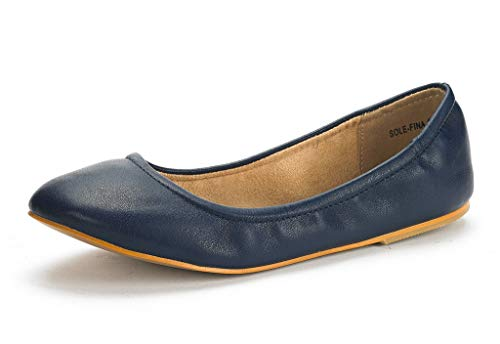 DREAM PAIRS Women's Sole-Fina Navy Solid Plain Ballet Flats Shoes - 10 M US