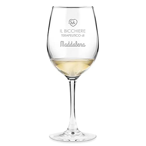 Maverton classico Calice da vino - incisione personalizzata - 350 ml in vetro - ideale per vino rosso e bianco - regalo di compleanno o matrimonio unico - per la donna - bicchiere Terapeutico