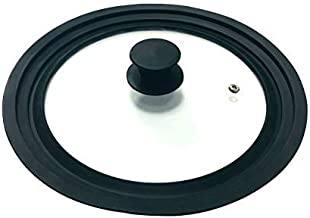 """Universal Skillet Lid for Pots and Pans-Tempered Glass & Food Grade Silicone Rim Multi-Sized Lids 9.5""""10""""and 11"""" Diameter ..."""