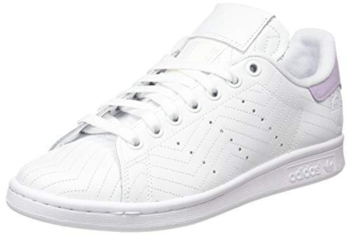 adidas Stan Smith W, Scarpe da Ginnastica Donna, Ftwr White/Ftwr White/Purple Tint, 38 EU