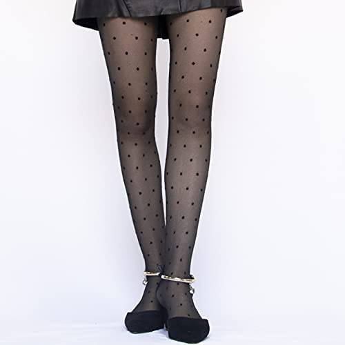 BINGHC Stockings Dot Patterned Women Pantyhose Fashion Sweet Girl Black Sexy Tights Female Stocking Transparent Silk Tights (Color : Small dot, Size : One Size)