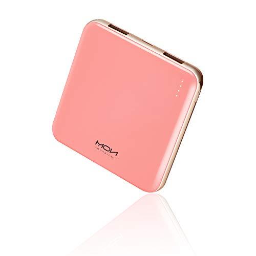 MOXNICE Powerbank 10000mAh Power Bank, Super Leicht Slim Externer Akku mit 2 Ausgänge für Smartphones, Tablets, Geschenke für Frauen (Rosa)