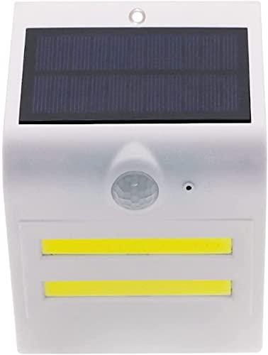QEGY LED Luces solares al aire libre, luz blanca de la pared de jardín con PIR Sensor de movimiento, atardecer a DAWN AUTO ON/OFF, 2 PCS Luz ambiental solar, IP65 Iluminación de linterna de pared im