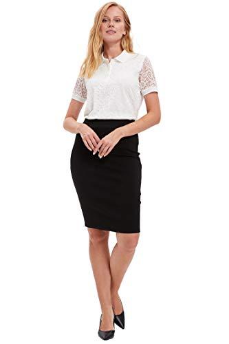 DeFacto Solid Color Röcke Frau Büro Plaid-Muster-Bleistift mit hohen Taille dünne reizvolle Midi Rock-Frauen-Herbst-Winter - K6736AZ   X-Small  Schwarz