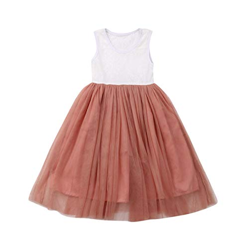 Baby Toddle Girls Tutu Dress Short Sleeves&Sleeveless Stripe Tulle Skirts A-line Dress (Pink-Sleeveless, 4T)