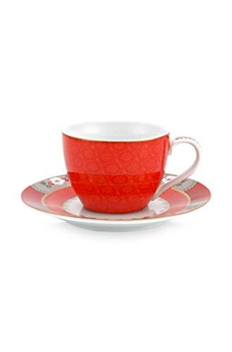 Pip Studio - Espressotasse mit Untertasse - Blushing Birds - Porzellan - rot - 2-teilig