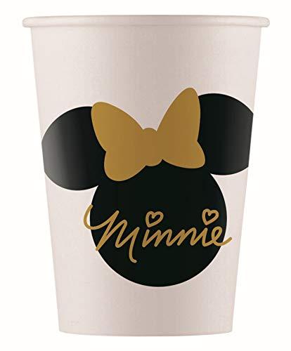Procos 10067718 Minnie Mouse - Vasos de fiesta (8 unidades), diseño de Minnie Mouse, color blanco, negro y dorado