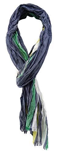 TigerTie gecrashter sjaal in blauw groen geel wit gestreept met kleine franjes
