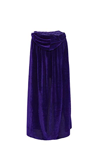 Ecity Unisex Adult Costume Velvet Hooded Cloak Role Play Halloween Xmas Party Cape (Large (59 inch=150cm), Purple)