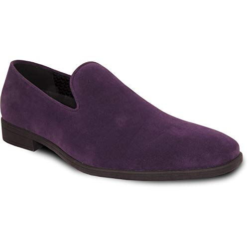 VANGELO Men Dress Shoe King-5 Loafer Slip On Formal Tuxedo for Prom Wedding Ortholite Insole Purple Size 12M