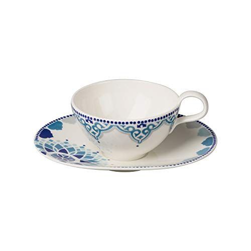 Villeroy & Boch Tea Passion Medina Tee-Set, 2-teilig, Premium Porzellan, Weiß/Blau