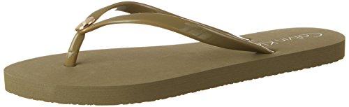 Calvin Klein underwear Damen FF Sandal Zehentrenner, Grün (Military Olive 302), Gr. XL