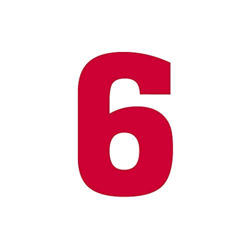 Wärmeübertragung zum Aufbügeln, Nummer 0 ~ 9, für Fußball/Baseball-Trikot, Rot, Kinder, Zahl-6, Tall: 3