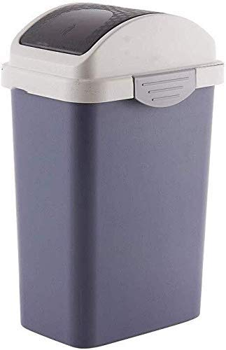 FZYE Rocking Cover Trash Can, Rectangle Household Creative Trash Can Bathroom Kitchen With Lid Trash Can Plastic Trash Can (Color : Dark Blue)