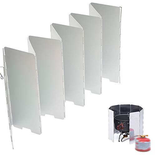 OLT-EU Camping Estufa Parabrisas, 10 Platos Plegable Cocina Aluminio Parabrisas, Recubrimiento Oxidación con Caja Almacenamiento para Camping Estufa Gas/Estufa Alcohol/Picnics Aire Libre (Blanco)