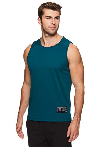 K-Swiss Men's Muscle Tank Top - Sleeveless Workout & Training Athletic Gym Shirt - Practice Jersey - Precision Deep Teal Green, Medium