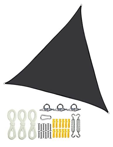 gfdfrg Vela de Sombra,Vela de Sombra Triángulo Toldo Vela Patio Shack Toldo,protección Rayos UV,con Cuerdas y Kit de Montaje de Acero Inoxidable,para Patio, Exteriores, Jardín, 3x3x3M