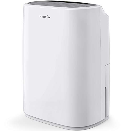 Inofia 30 Pint Dehumidifier for 1500 SQ FT Home Basements Bathroom Garage Laundry/Store Room, Portable Dehumidifiers for Small & Midium-size Rooms with Continuous Drain Hose and 4 Pint Water Reservoir