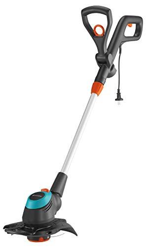 GARDENA Elektro-Trimmer EasyCut 450/25: Rasentrimmer mit verstellbarem Griff abwinkelbarem Trimmerkopf und ausklappbarem Pflanzenschutzbügel, 250 mm Schnittkreis (9870-20)