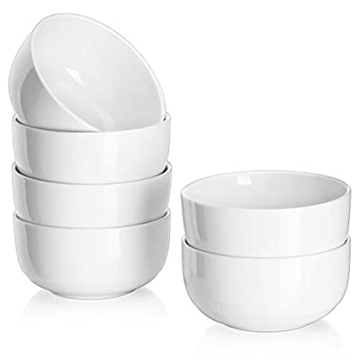 DOWAN 22 Ounce Cereal Bowls, White Bowls Set for Soup, Desserts, Ice Creams, 6 Packs, White