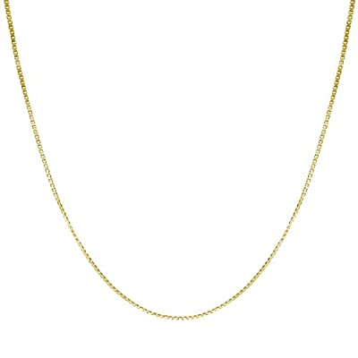 """14K Solid Gold 0.7mm Box Chain Necklace, 16"""" - 30"""""""