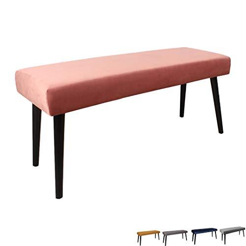 Nimara Gepolsterte Samt Sitzbank mit schwarzen Beinen | Perfekt für Esszimmer und Schlafzimmer und als Deko Bank | Erhältlich in grau, dunkelblau, rosa und Mehreren Farben | 100x35x45 (Rosa)