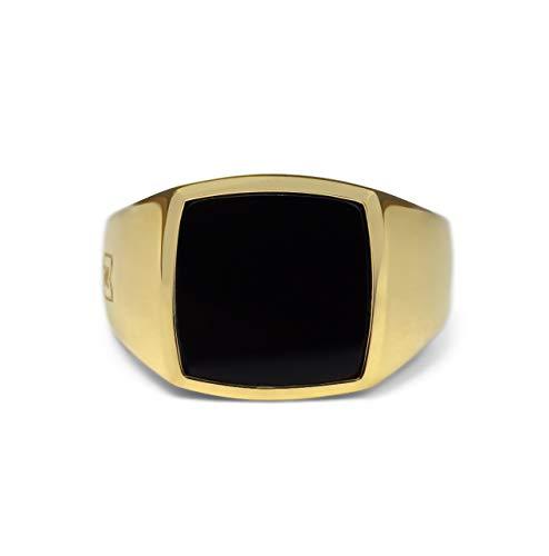 Sprezzi Fashion Goldener Siegelring Herren aus massivem 925 Sterling Silber 18k Echtgold vergoldet mit Onyx Stein schwarz |Männer-Ring Schmuck aus Deutschland (Gold Onyx, 58 (ø18.5mm))