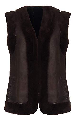 Hollert Dames lamsvachtvest Heidi donkerbruin van 100% merino schapenvacht outdoor vest echt leer suède winter warm mouwloos jack
