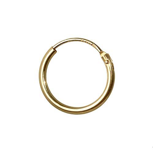 NKlaus 585er 14 Karat echt GOLD Einzel HERREN Klappcreole Ohrring Ohrschmuck Ohrhänger 11 mm 1753