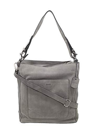 ESPRIT Damen Handtasche Tasche Henkeltasche Xena Hobo Leder Grau 119EA1O062-010