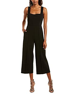 Donna Morgan Women's Square Neck Crepe Sleeveless Cropped Jumpsuit, Black, 10