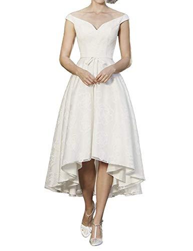 Cloverbridal dames V-hals bruiloftsjurken bruidsjurken dames vooraan kort achter lang avondjurken elegante bruidsmode feestjurken