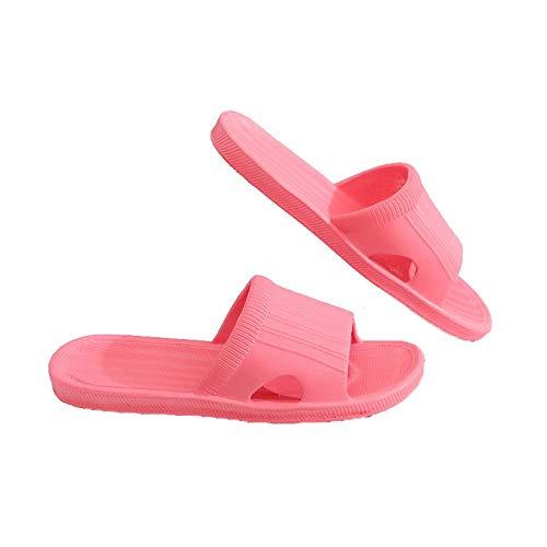 LINGZIA Zapatillas Zapatillas de Verano Antideslizantes Zapatillas de Piso para el hogar Zapatillas de baño Planas de baño Familiar a Rayas Zapatillas de Sandalia para Mujeres 38 Redforwomen