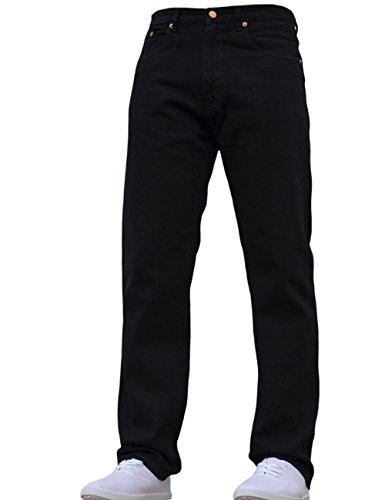 adidas Neue Herren Aztec Gerade Passform Strapazierfähige Basic Baumwolle Arbeit Jeans Alle Taillengrößen Schwarz 34W X 31L