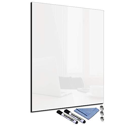 Pizarra magnética de cristal blanco 60 x 80 cm para pared con accesorios