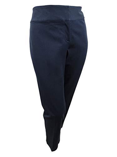 Alfani Womens Plus Tummy Slimming Flat Front Straight Leg Pants Navy 16W