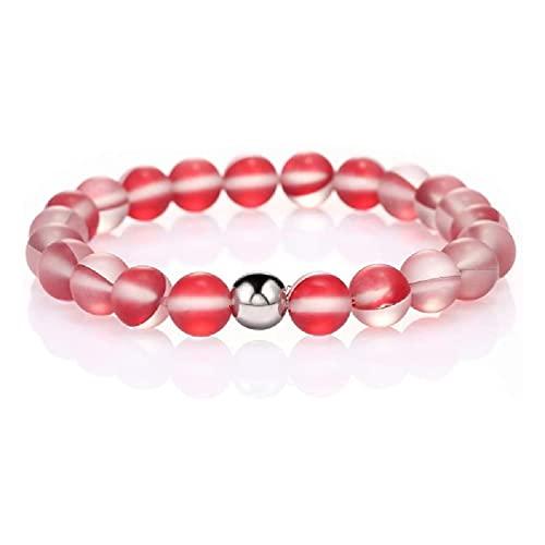 tiantianchaye Pulsera elástica redonda de cristal con cuentas de arco iris de 8 mm mate de piedra lunar cuentas pulsera elástica pulsera de mujer joyería
