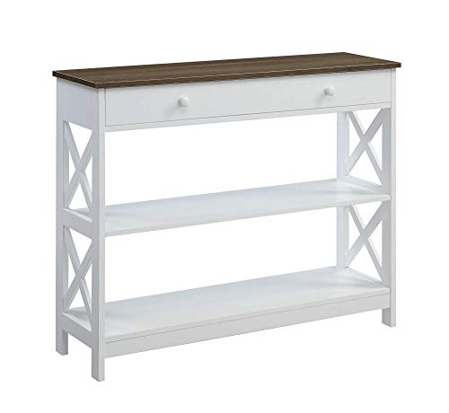 Mejor Convenience Concepts Oxford 1 Drawer Console Table, Driftwood / White crítica 2020
