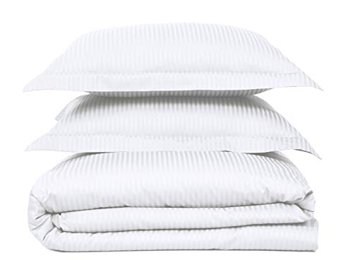 Feather & Stitch 500 Thread Count 100% Cotton Stripe Sheets + 2 Pillowcases, Soft Sateen Weave, Deep Pocket, Hotel Collection, Luxury Bedding Set (White, King)