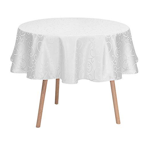 Laneetal Tischdecke Tischtuch Ornamente Damast Seidenglanz Tafeldecke abwaschbar wasserdicht schmutzabweisend Eckig Oval Rund wählbar Weiß Rund 160 cm