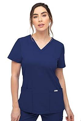 SOULFUL SCRUBS 3002 Chloe 2-Pocket, V-NecklineTop - Stylish Medical Scrub Top for Women - Navy X-Large