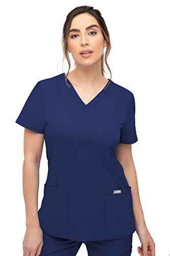 SOULFUL SCRUBS 3002 Chloe 2-Pocket, V-Neck Top - Stylish Medical Scrub Top for Women - Navy Medium