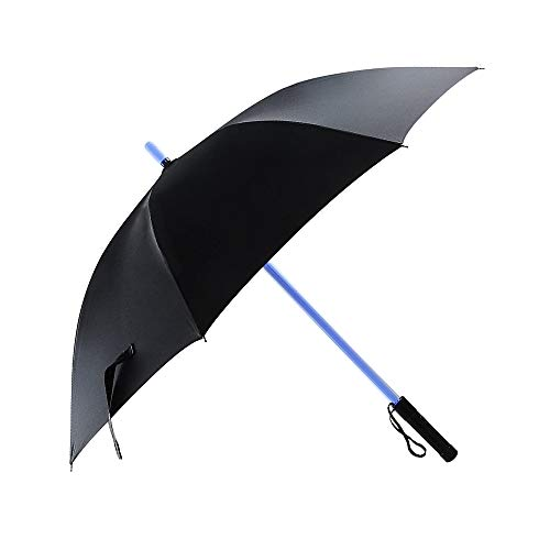 LED Lightsaber Light Up Umbrellas with 7 Color Changing Effects, Windproof Golf Umbrellas with Flashlight Handle (Black)