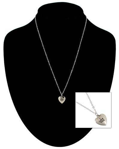Silver Tone Chain Necklace Heart I Love You Pendant Necklace For Women