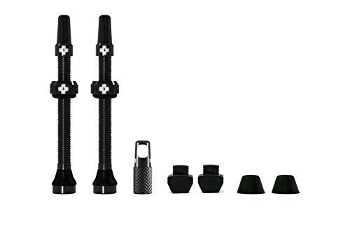 Válvulas Presta sin cámara Muc-Off de Color Negro, 60 mm – Válvulas de Bicicleta Premium sin Fugas con Herramienta de extracción de núcleo de válvula integrada