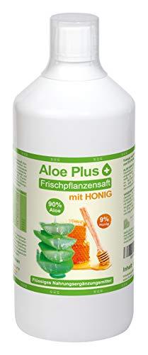ALOE VERA & HONIG TRINK SAFT | mit Vitamin C, B6, B12, Niacin, Biotin | 1 Liter mit Messbecher | Nahrungsergänzung, Drinking Gel | Premium Qualität | Aloe Plus Secret Essentials