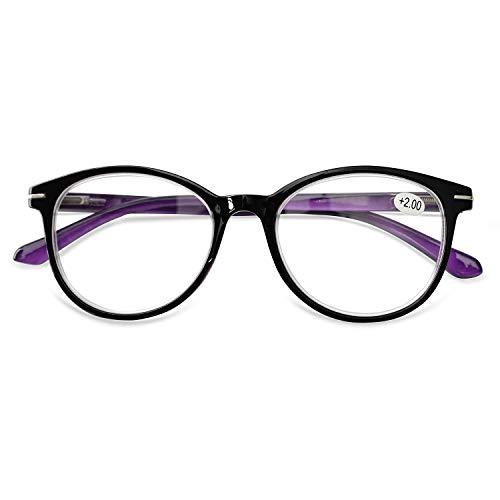 KOOSUFA KOOSUFA Lesebrille Herren Damen Retro Runde Lesehilfe Sehhilfe Federscharniere Vollrandbrille Anti Müdigkeit Brille 1.0 1.5 2.0 2.5 3.0 3.5 4.0 (Violett, 3.0)