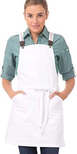 Chef Works unisex adult Berkeley Petite Bib Work Utility Apron White W White Khaki Suspenders product image