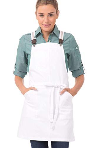 delantal blanco de la marca Chef Works