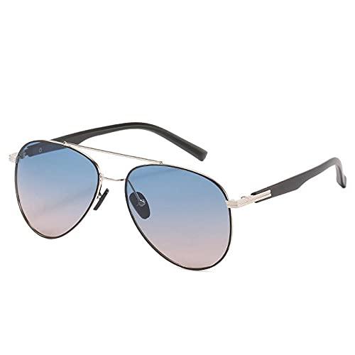 Gafas de sol unisex casuales de metal polarizando gafas de sol masculinas anti-UV gafas de sol conducción conductor rana espejo, Gold Frame Blue Tea,